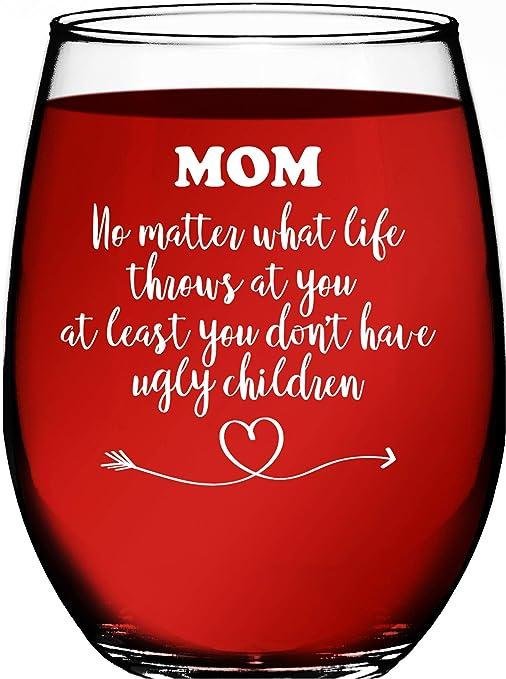 Amazon.com: Regalo para mamá de hija o hijo – Vaso de vino ...