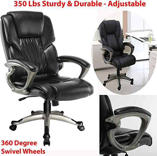 Amazon Com 350 Lbs Sturdy Adjustable High Back Pu Leather Office Chair Executive Task Ergonomic Computer Desk With 360 Degree Swivel Wheels Black Home Kitchen