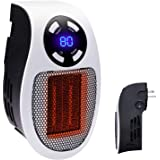 350W Space heater, Wall Outlet Electric Space Heater as Seen on TV with Adjustable Thermostat and Timer and Led Display, Comp