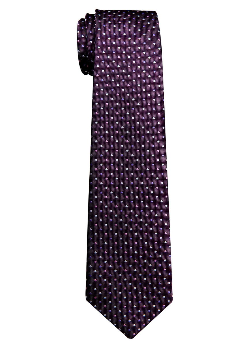 Vintage Three-Color Polka Dots Woven Boy's Tie (8-10 years) - Dark Purple