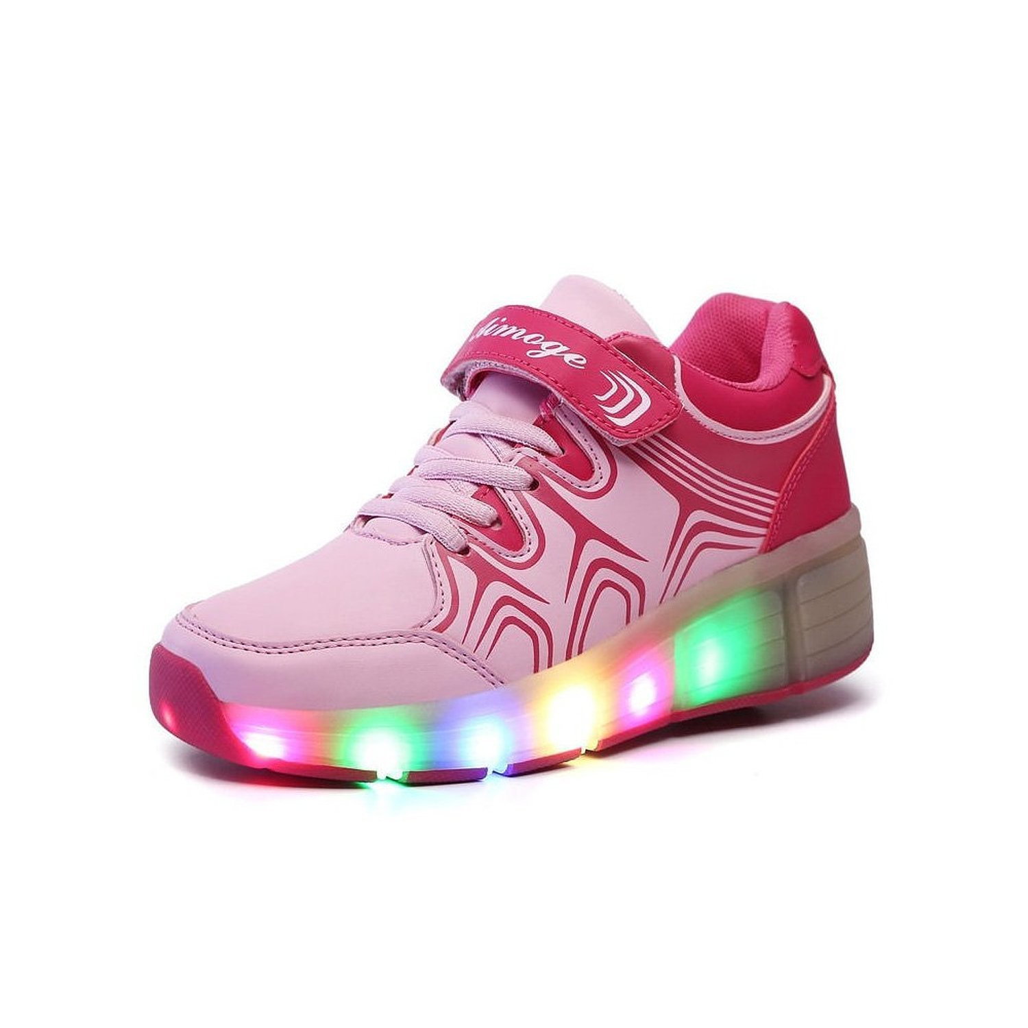 VMATEPink Kid Girl LED Light Up Roller Wheel Sneaker Shoes