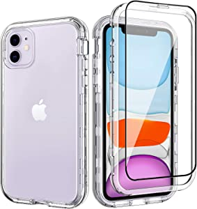 ACKETBOX iPhone 11 Case with Screen Protector Hybrid Impact Defender Clear PC Back Case and Bumper+Transparent TPU Full Body Cover for iPhone 11 6.1 Inch(Clear)