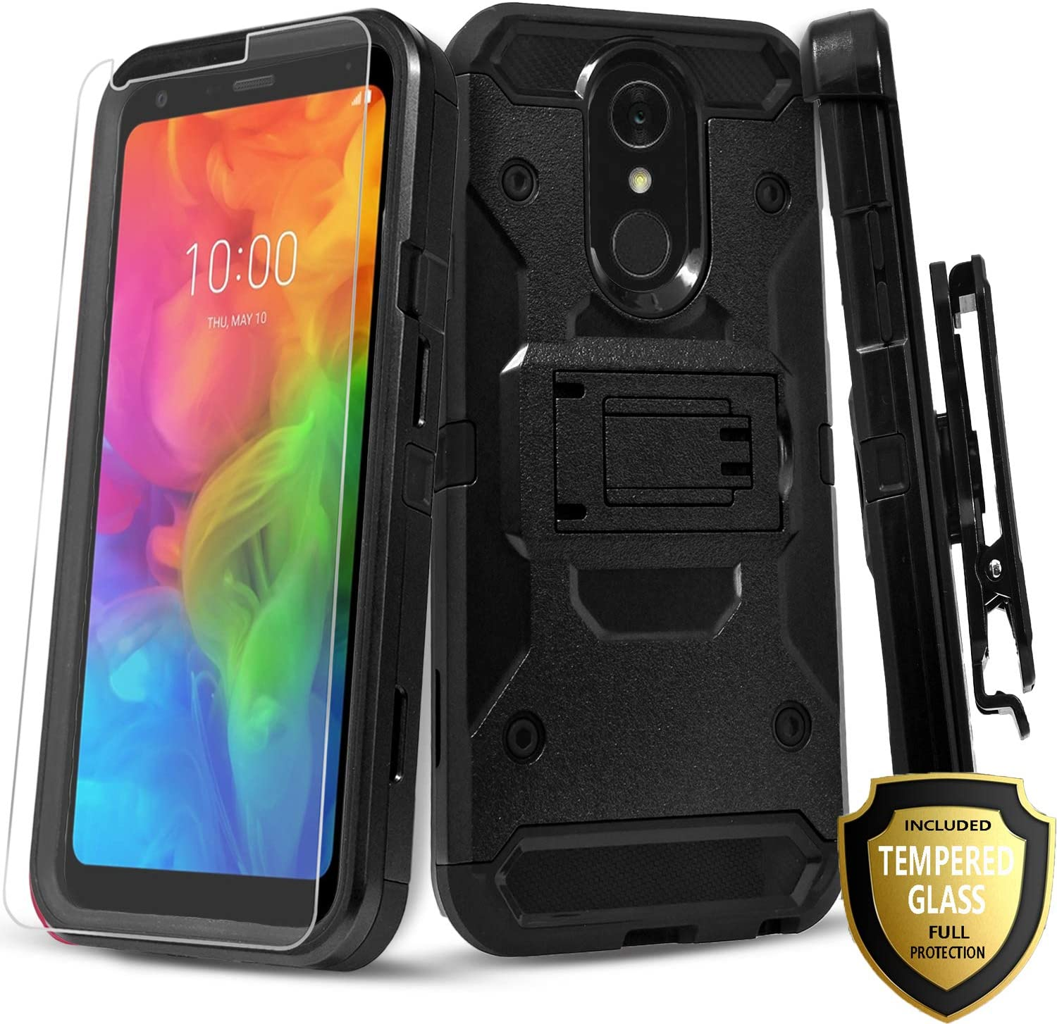LG Stylo 4 Phone Case, LG Stylo 4 Plus + Case, With [Tempered Glass Screen Protector] Full Cover Heavy Duty Dual Layers Phone Cover with Kickstand and Locking Belt Clip Holster-Black