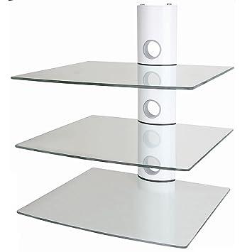 Neg Multimedia Tv Rack Suspender 503w Weiß Mit 3 Glas Ablagen Und