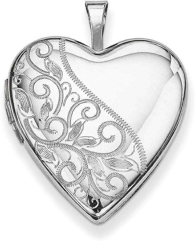 .925 Sterling Silver 20MM Swirl & Heart Locket Charm Pendant