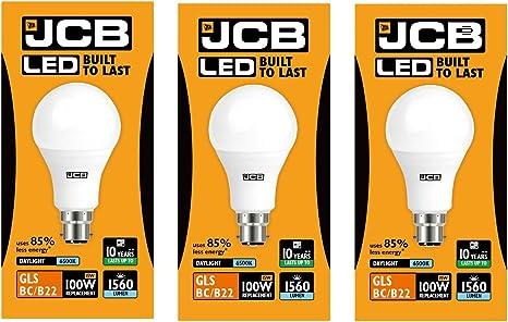 15w 100 WATTS BC B22 ES E27 3000k 6500k BUY 2 GET 1 FREE JCB LED Bulbs GLS 6w