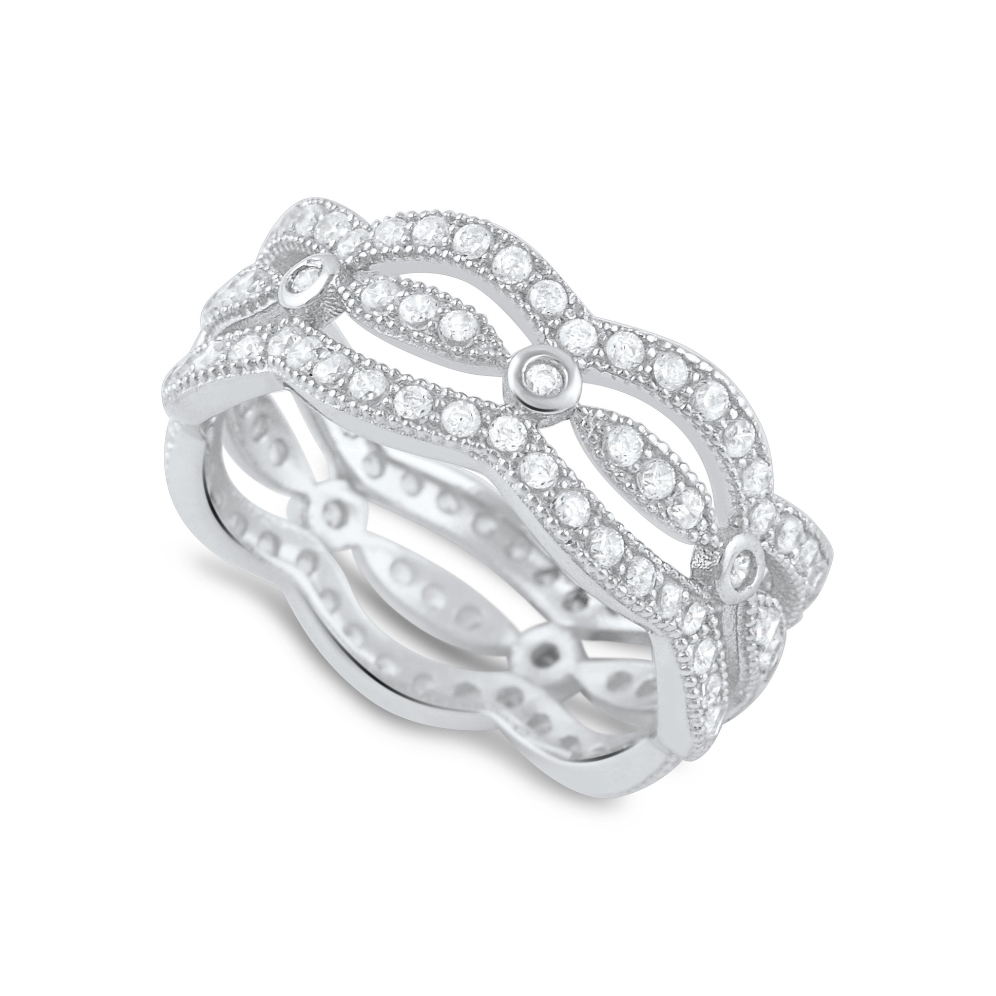 Sterling Silver Cz Stacked Eternity Ring - Size 8