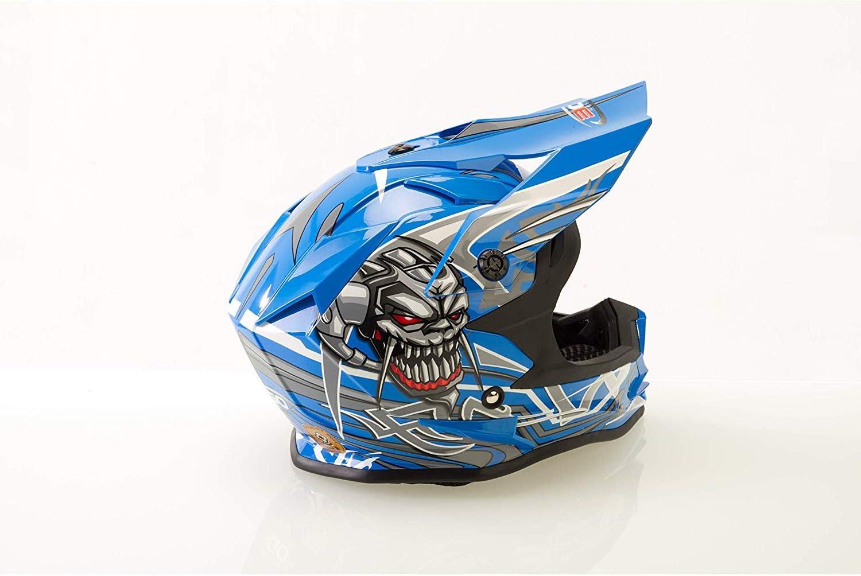 3GO X10-K SKULL Kids Motorbike MX Helmet /& Goggles Off Road Dirt Quad Bike Enduro Sports Downhill ATV MTB BMX Childrens Motorcycle Sports Motocross Protective Gear Kit