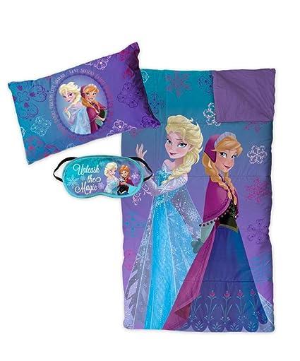 Disney – Conjunto de pijama de Frozen – Saco de dormir, cojín y antifaz