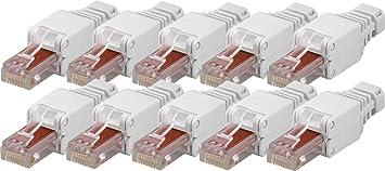 10x Werkzeugfreier Cat6 Rj45 Netzwerk Stecker Fur Amazon De Elektronik