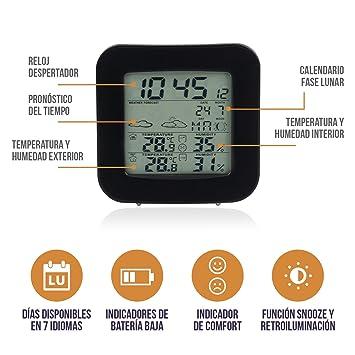 BestOnes Choice Termómetro higrómetro Digital Interior y Exterior. Termohigrómetro con Reloj. Estación meteorológica inalambrica con Sensor Exterior.
