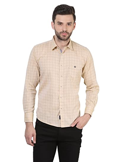 6c7561cb Crimsoune Club Camel Shade Printed Casual Shirts: Amazon.in: Clothing &  Accessories