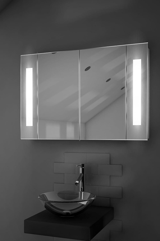 Kriya Led Illuminated Bathroom Mirror Cabinet With Sensor & Shaver K119:  Amazon: Kitchen & Home