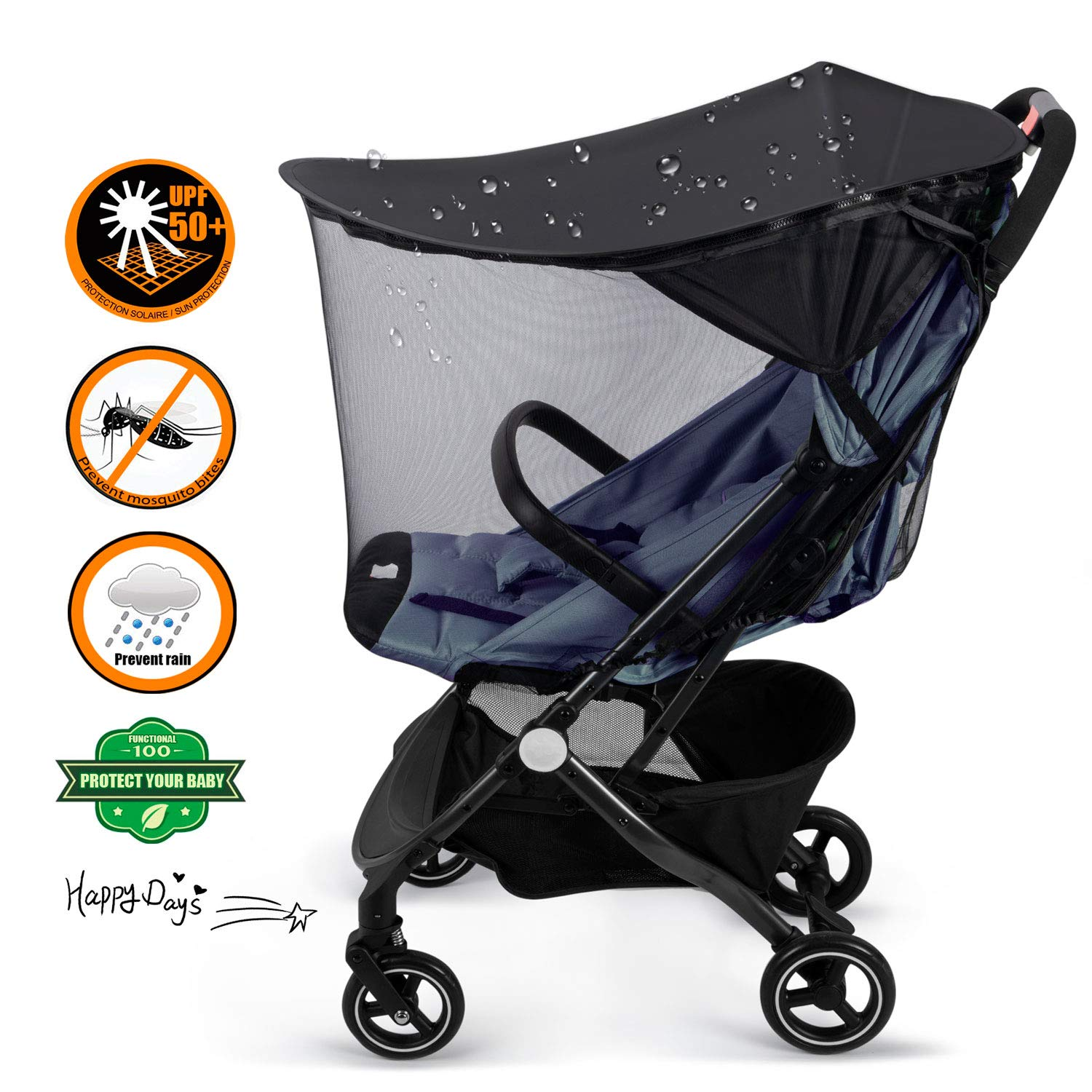 YLYYCC Baby Stroller Widen Sun Shade Awning/Oval Canopy + Bed net Style/Anti- UV Resistance/Rain proofing by YLYYCC