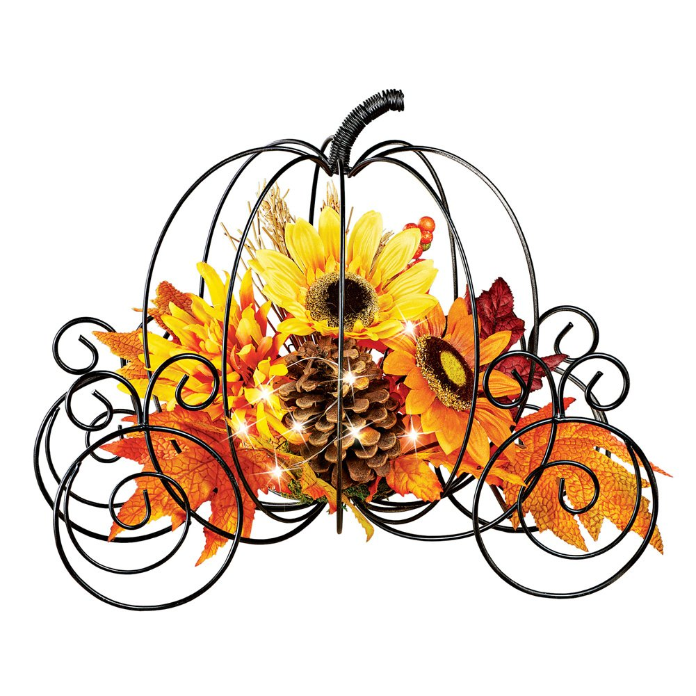 CLEARANCE Fall Autumn Metal Pumpkin with Lights ...