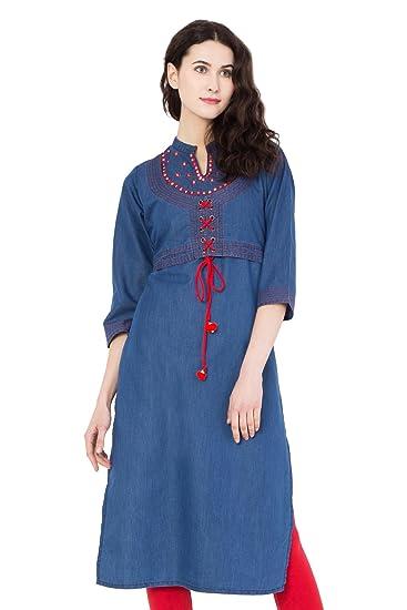 Pinky Pari Stylish Blue Denim Jacket Style Embroidered Straight Fit