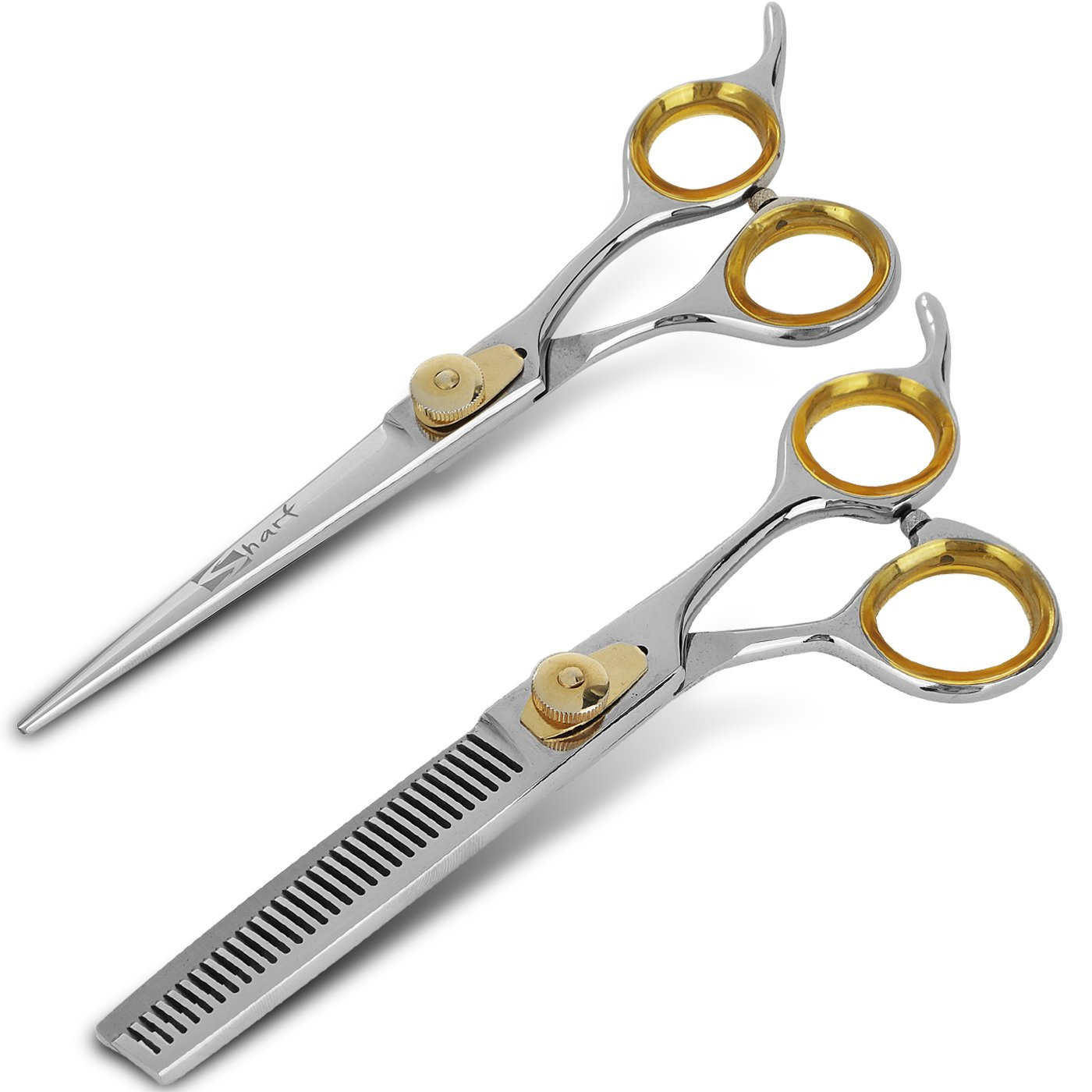 SHARF 6.5'' Stainless Steel Barber Scissors + 6.5'' Thinning Shears For Men & Women | Gold Touch Series 30-Teeth Hair Cutting/Texturizing Scissors w/Easy Grip Handles | Great For Hairdresser & Home Use by Sharf