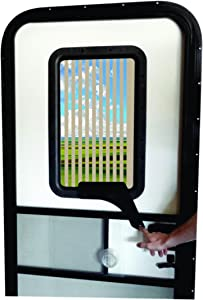 RV Door Window CloZures Shade, Controls Sun Glare, Privacy, Outside View by Moving fingertip Lever, Without Opening Screen Door. Kit Includes Clear Glass to Replace Frosted Glass. (Light Beige)
