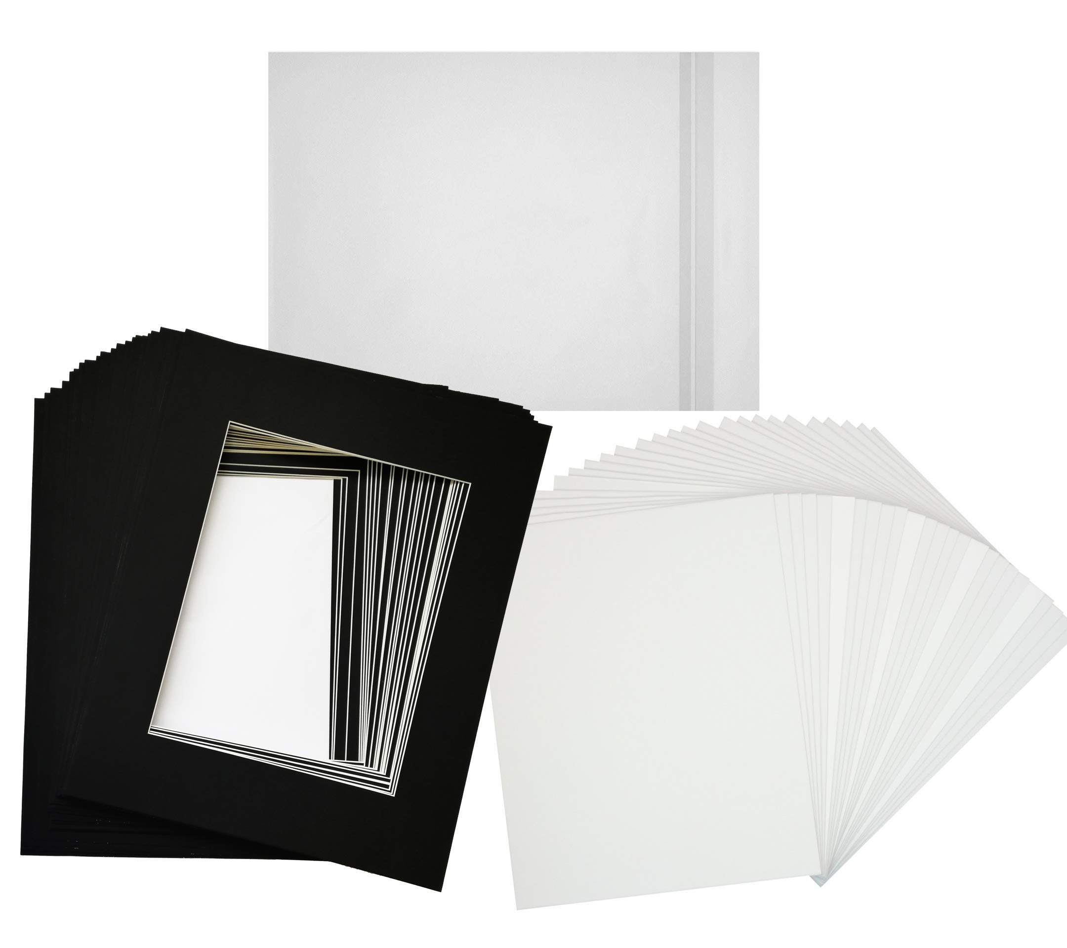Hall of Frame Pack of 25 16x20 Black Picture Mats with White Core Bevel Cut for 11x14 Picture Opening, 25 4ply White Backings, 25 White Clear Bags (Packed Separately in 1 Box)
