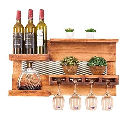Bastidor de vino de madera de montaje en pared multifunción | Soporte para botellas con soporte