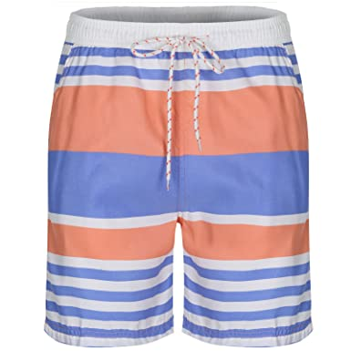 053b977968 Soul Star Men's Striped Swim Shorts - Blue/Orange - Small: Amazon.co ...