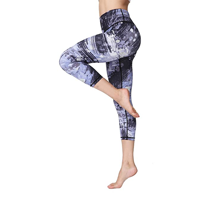 e7f1685dac Amazon.com: Witkey Women Yoga Pants Printed Yoga Leggings High Waist Power  Flex Capris Workout Leggings for Fitness Running: Clothing