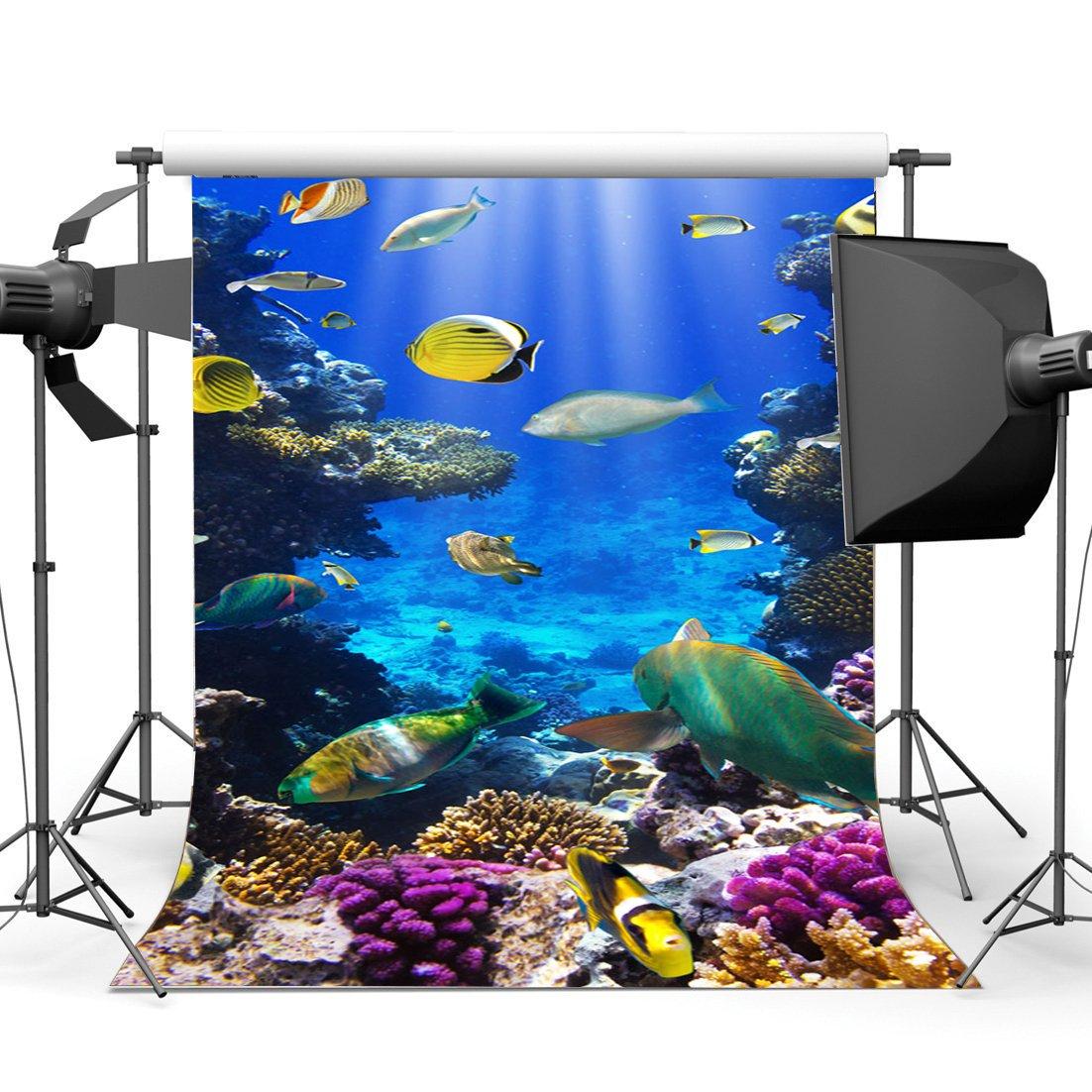 Gladbuy ビニール 5 x 7フィート 水中 世界 背景 水族館 背景 ファンシー コーラル 魚 ライト レイ バブル 海 世界 写真 背景 子供 大人 夏 海 セーリング 写真 スタジオ 小道具 KX370   B07B8LHFBD