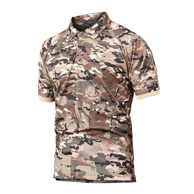 Caza de Combate táctico Militar Caza Manga Corta Held Airsoft Camuflaje Camiseta Uniformes tácticos Ropa Deporte al Aire Libre para Multicam CP XXXX-Large: ...