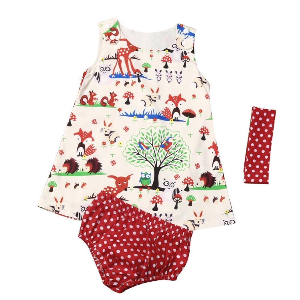 Abbigliamento Femminile Abito Bello,Sonnena Pantaloncini da Bambina in tre Pezzi e Fascia per Capelli e set di Vestito del Punto della Principessa delle Neonate dei Pantaloni HK
