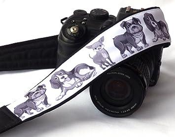 Perros Correa de cámara. Negro y Blanco Cámara correa. Acolchado Cámara correa. Cámara réflex digital correa. Canon, Nikon cámara Correa.