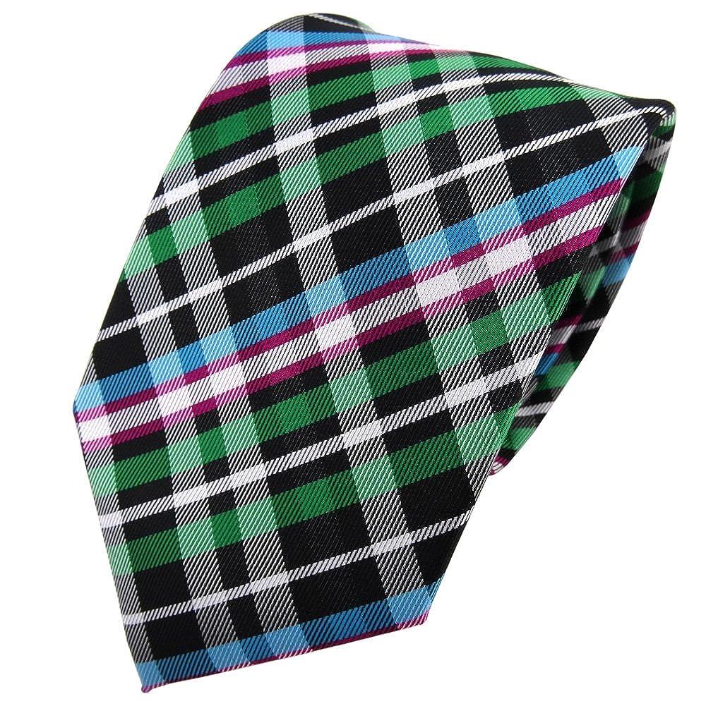 TigerTie - Corbata - verde magenta turquesa negro plata a cuadros ...
