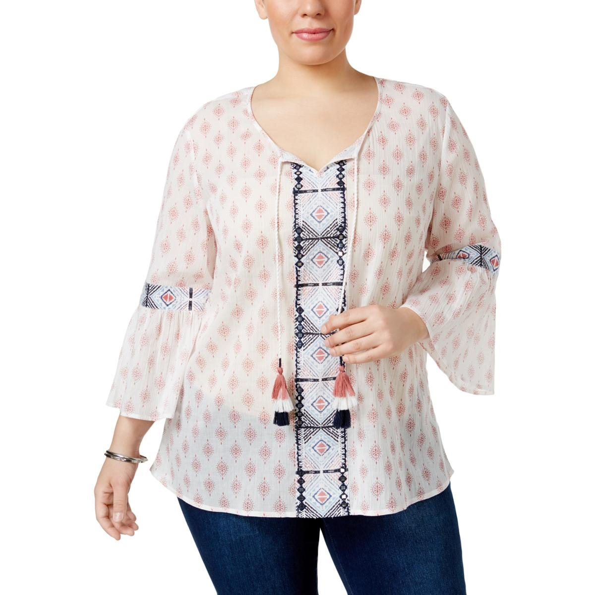 Style & Co.. Womens Plus Woven Printed Pullover Top Pink 1X by Style & Co.