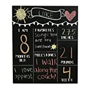 JennyGems Chalkboard Sign Baby Milestone Months For Use With Actual Chalk Monthly Baby Photo Props - (Use Actual Dry Chalk. Do Not Use Chalk Markers) - For Babies and Infants