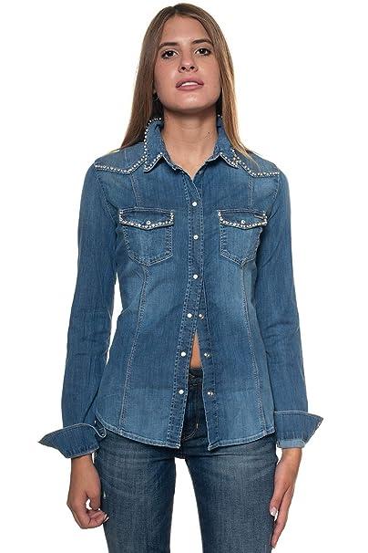Guess Camicia da Donna in Jeans Denim Chiaro Cotone Donna XL