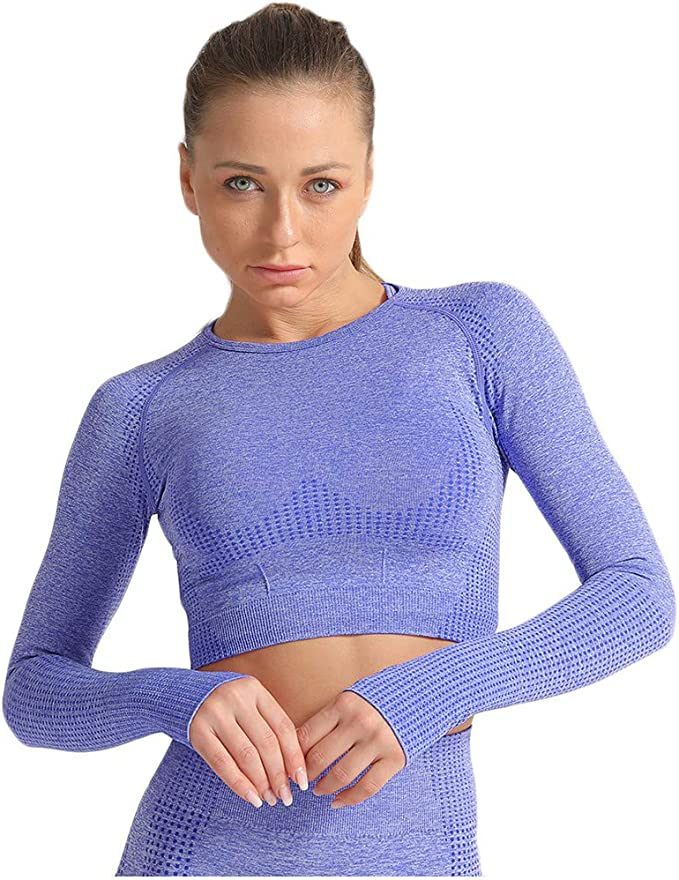 ADOME Damen Sport Fitness Shirt Laufshirt Sportshirt Langarm T-Shirt mit Daumenloch Training Shirts Atmungsaktiv Oberteil Tops mit Daumenloch