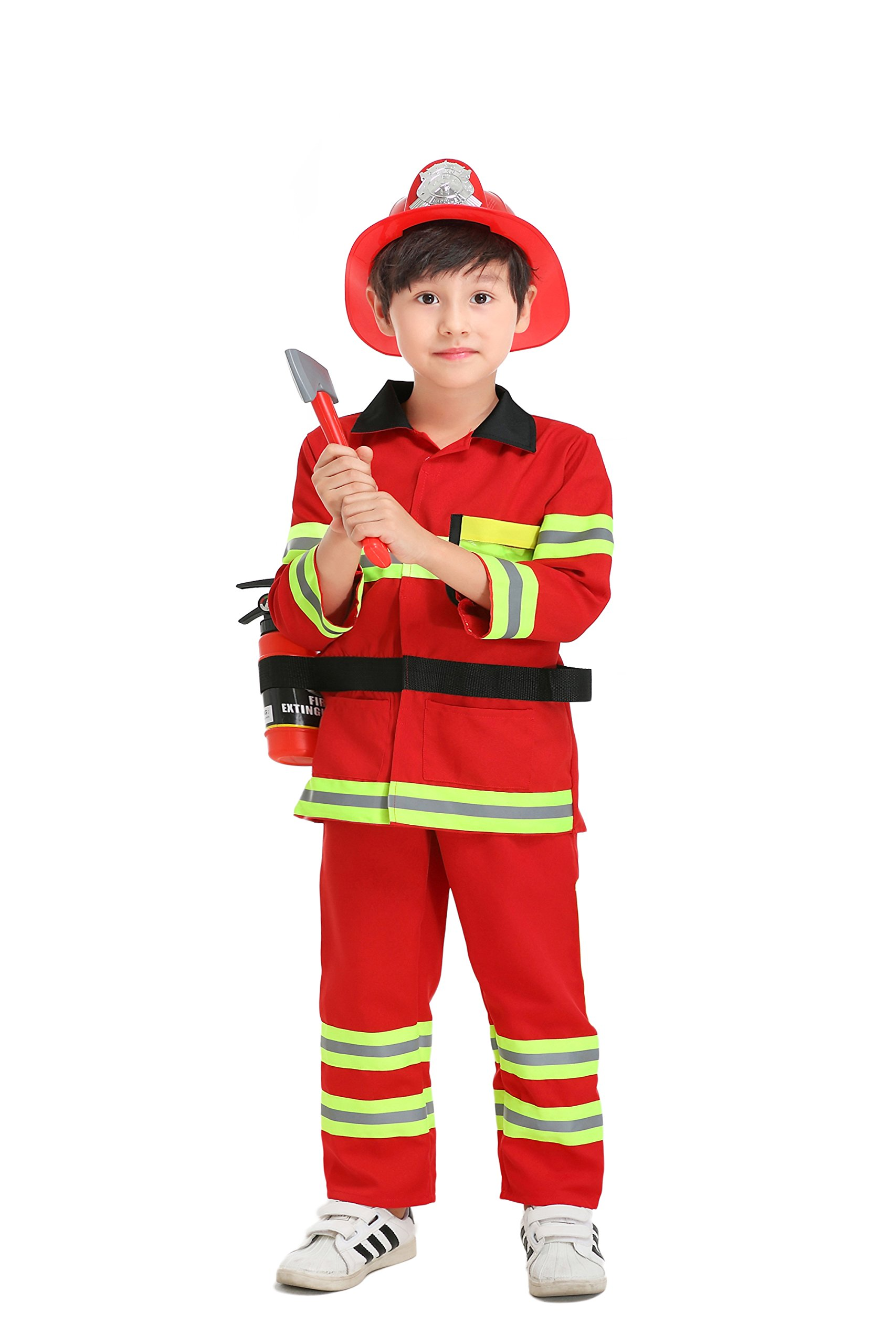 YOLSUN Fireman Role Play Costume for Kids, Boys' and Girls' Firefighter Dress up and Play Set (7 pcs) (4-5y, red)