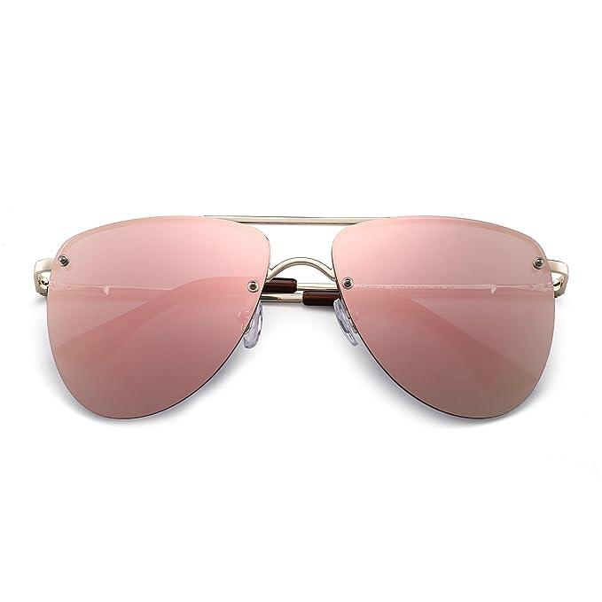 JIM HALO Gafas de Sol Polarizadas Sin Marco Aviador Lentes de Espejo Planos Bisagras de Resorte Hombre Mujer(Dorado/Rosa Reflejado Polarizado): Amazon.es: ...