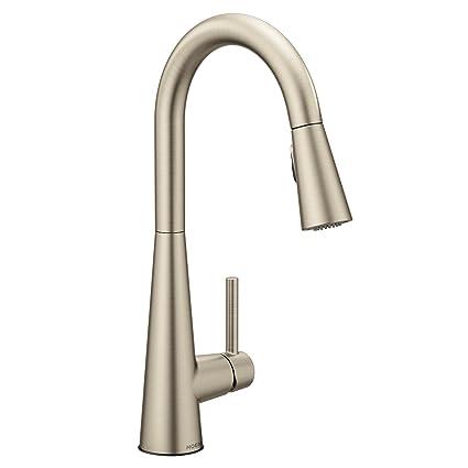 Moen 7864SRS Sleek One-Handle High Arc Pulldown Kitchen Faucet Featuring  Power Clean, Spot Resist Stainless