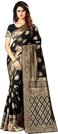Amazon Com Queen Fashion Designer Wedding Women S Banarasi Silk Saree Indian Wedding Ethnic Sari Unstitch Blouse Piece Pari 20 Black Clothing