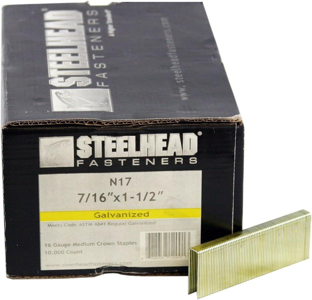 Steelhead N13SS 7//16 in 16 Gauge Stainless Steel N-Series Staples 10,000//box x 1 in
