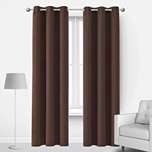 Deconovo Thermal Insulated Curtains Room Darkening Grommet Curtain Panels for Living Room 42x72 Inch Chocolate 1 Curtain Pair