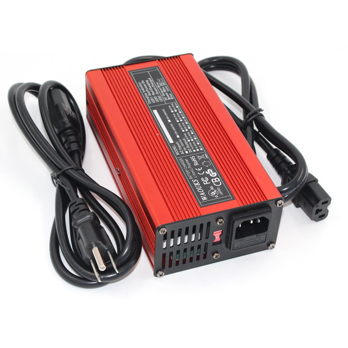 67.2V 2A Charger 60V Li-ion Battery Smart Charger 16S Red Aluminum shell With fan Battery pack charger Input 100VAC-240VAC