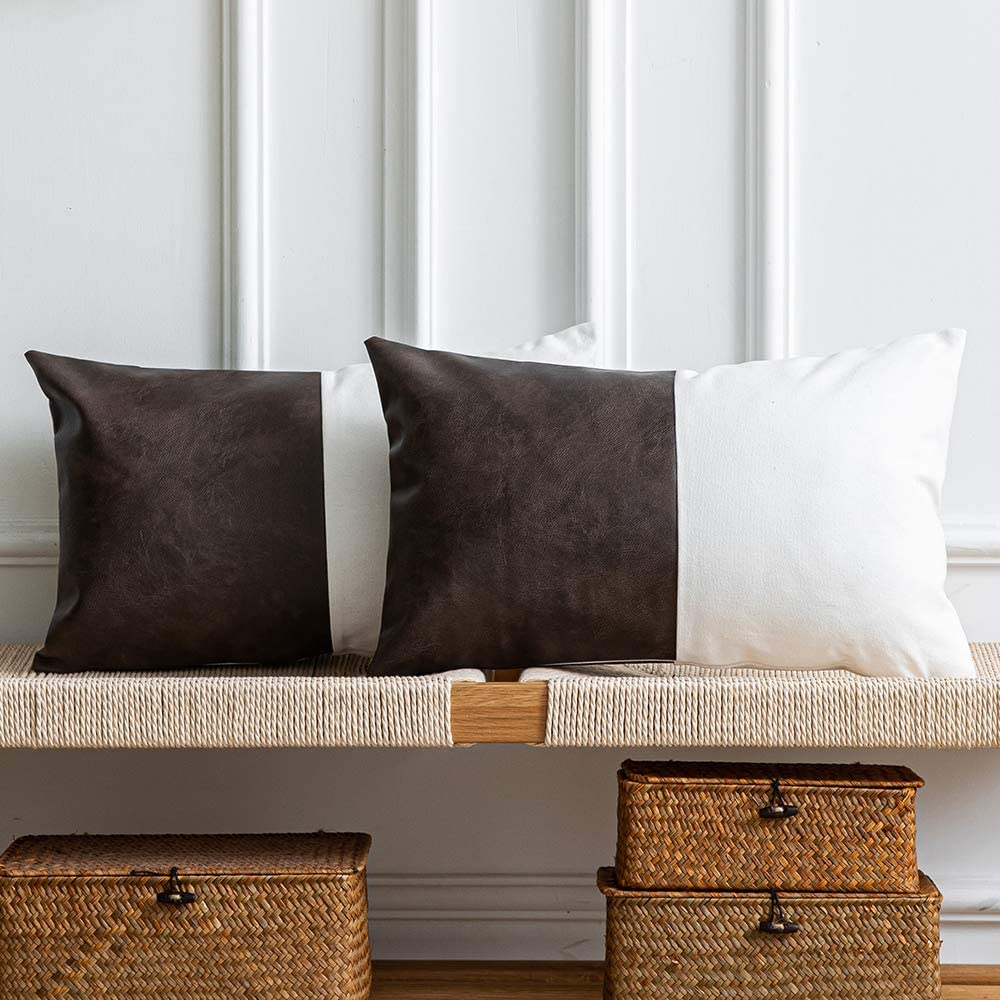 DEZENE Leather Throw Pillow Covers, Set of 2 Modern Leather/Cotton Decorative Pillowcases for Home Decor Bedroom Living Room Couch Bed Sofa, 12x20 Inch, Dark-Brown and White