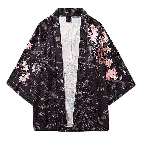 LHWY Camisa de Hombre Tops Shirt 2019 Moda para Hombre Cardigan Chaqueta Suelta con Estampado Nacional Yukata Abrigo Holgados Tops Verano de Punto ...