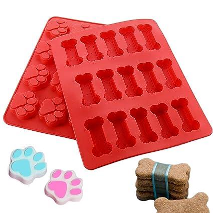 Joyoldelf 2 x moldes del silicona Cachorro Paws & Bones para hornear moldes de pan bandejas