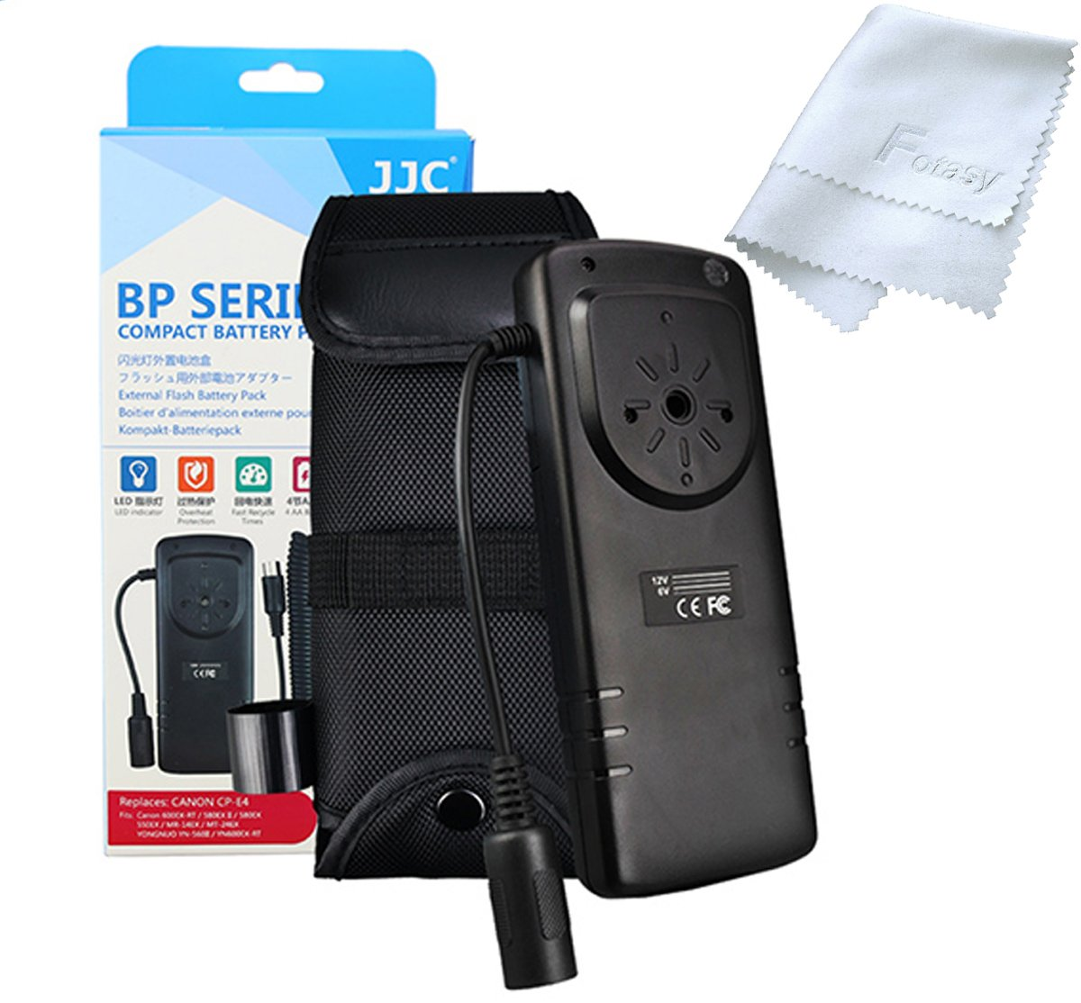 JJC BP-CA1 Pro External Flash Battery Pack replaces Canon CP-E4, for Canon 600EX II-RT/600EX-RT/580EX II/580EX