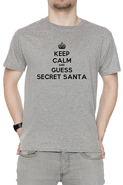 Keep Calm And Guess Secret Santa Hombre Camiseta Cuello Redondo Gris Manga Corta Tamaño S Mens
