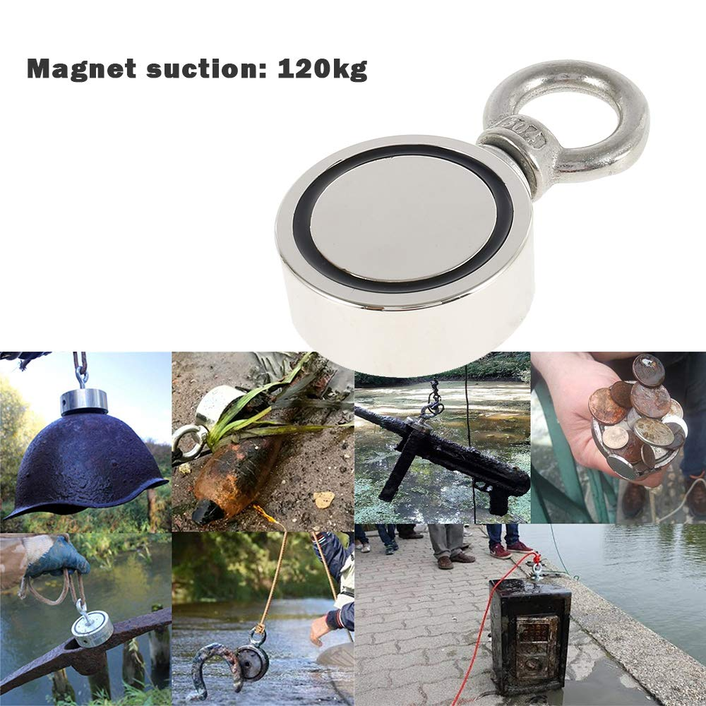 Magnet Fishing Kit Double Sided Pulling Force Metal Magnet Detector Round Neodymium Eyebolt for Magnet Fishing and Salvage in River D48