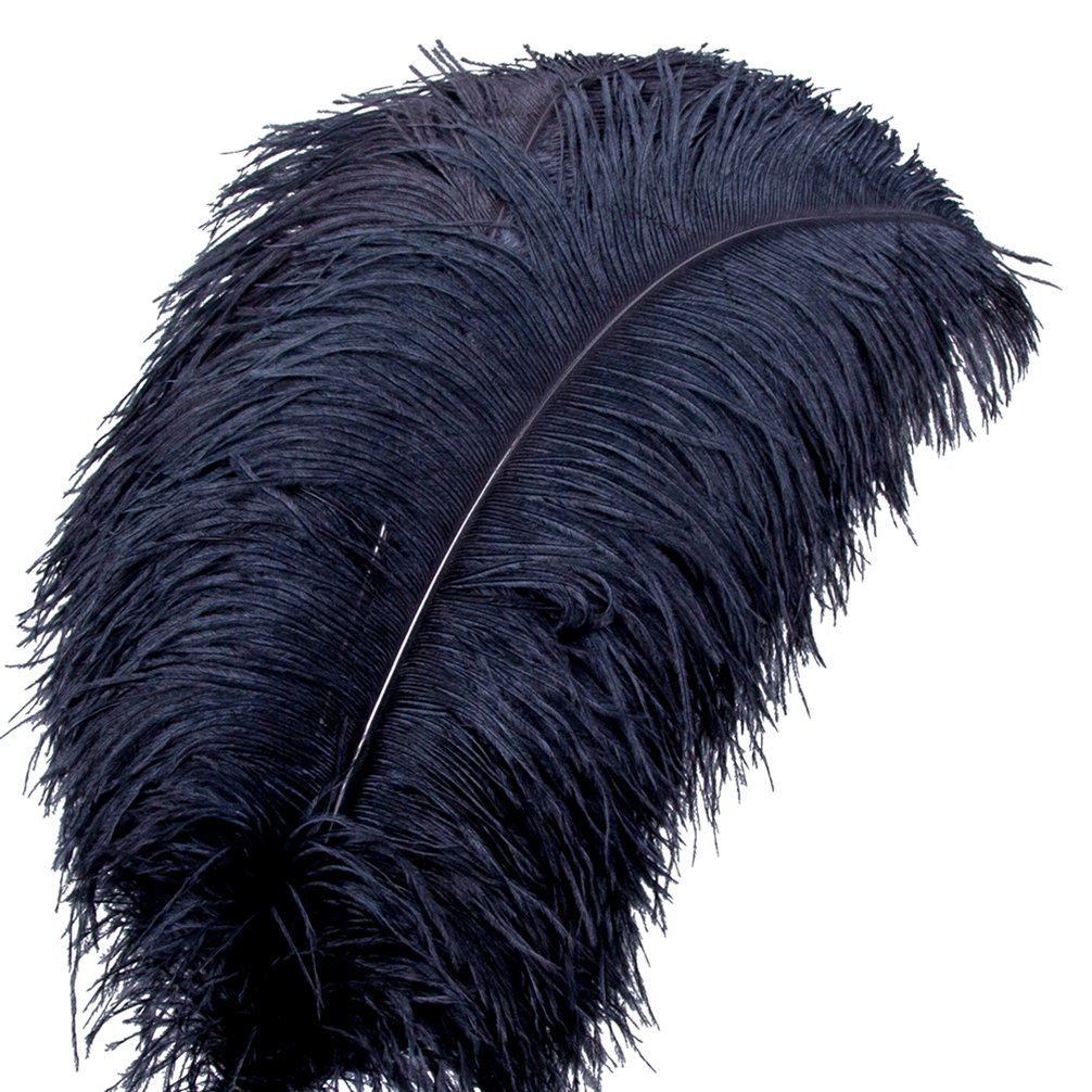 AWAYTR Natural Large Plum Ostrich Feathers 21-24 inch(53-60cm) for Home Wedding Decoration (50Pcs, Black)