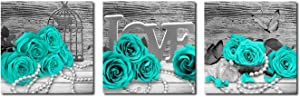 Turquoise Rose Canvas Wall Art Teal Blue Green Flowers Prints Black and White Floral Pictures for Bathroom Bedroom Home Decor 12 x 12 Inches 3 Pieces